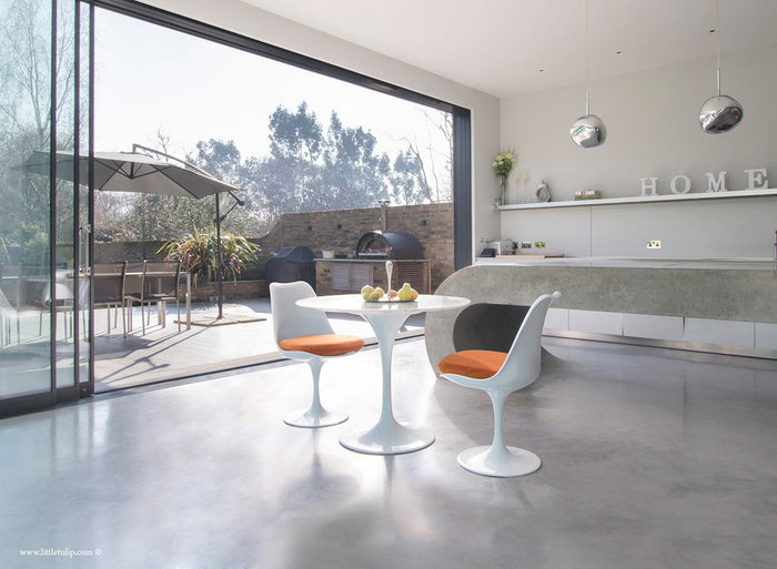 Set - 90cm White Carrara Marble Circular Table & 2 Tulip Side Chairs