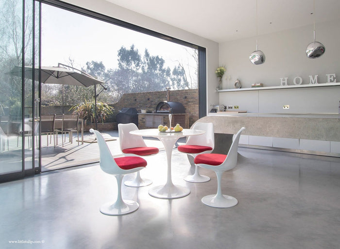Set - 90cm White Carrara Marble Circular Table & 4 Tulip Side Chairs