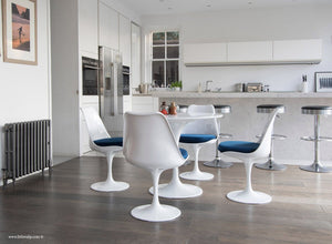 Main view of 90cm Tulip Table and 4 Tulip Side Chairs with blue cushions
