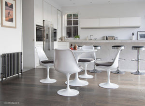 Main view of 90cm Tulip Table and 4 Tulip Side Chairs with grey cushions