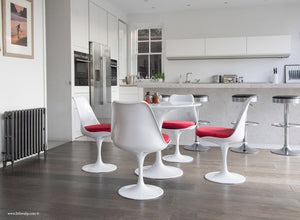 Main view of 90cm Tulip Table and 4 Tulip Side Chairs with red cushions