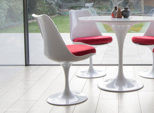 Tulip Chair with red cushion shown with bi-folding modern doors