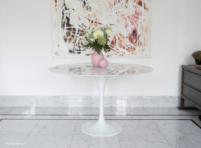 120cm Circular - White Carrara Marble Tulip Table - designed by Eero Saarinen