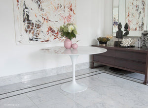 Saarinen 120 Marble Dining Tulip Table Side View