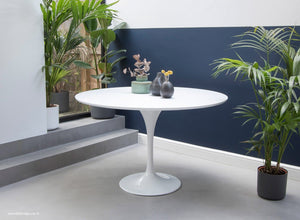 Main view of the Saarinen 120cm White laminate Tulip Table