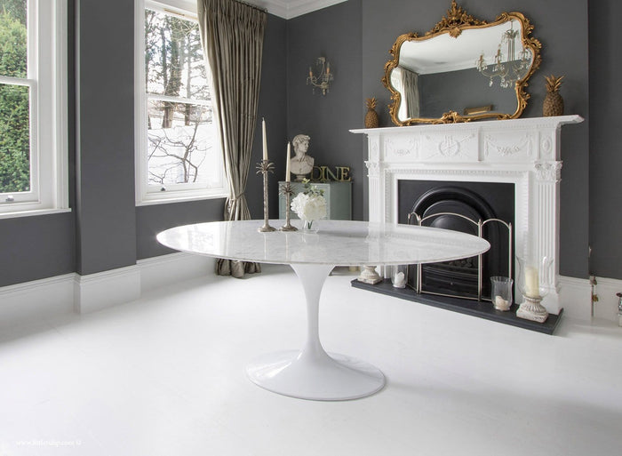 170cm x 110cm Oval - White Carrara Marble Tulip Table - designed by Eero Saarinen