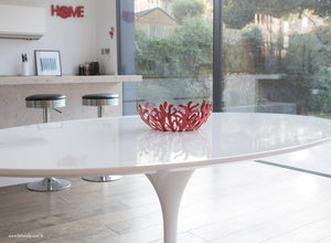 Side view of the 170cm white laminate oval Tulip Table
