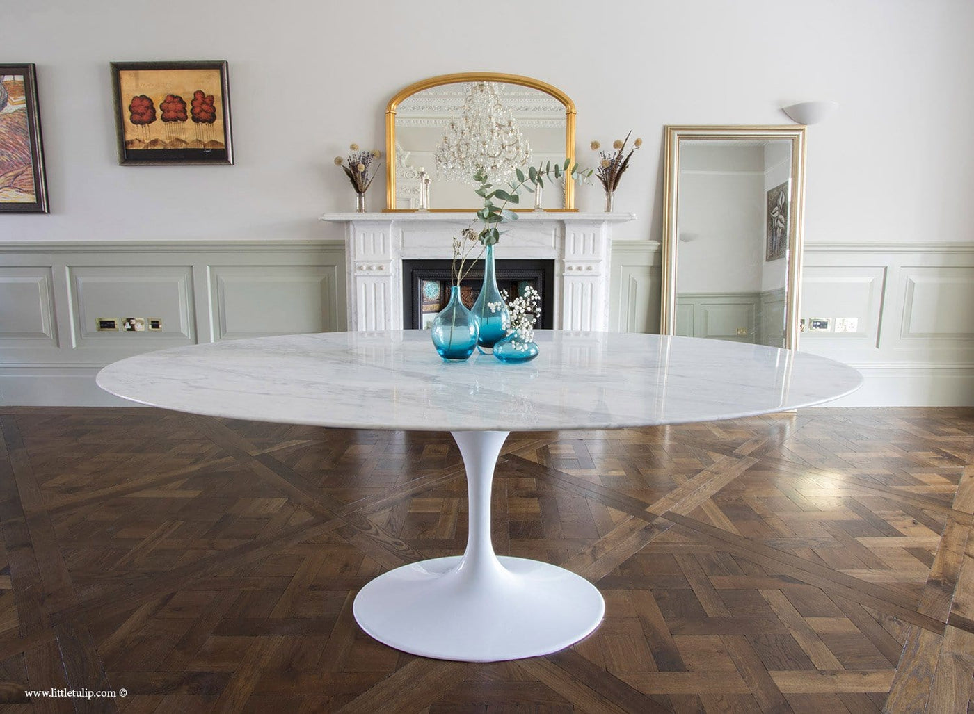 200cm x 120cm Oval White Carrara Marble Tulip Table by Eero Saarinen The Little Tulip Shop