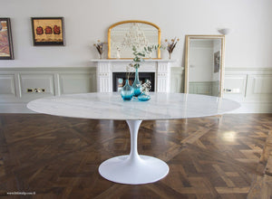 Side view of the 200cm oval Carrara Marble Tulip Table