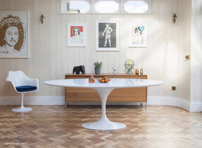 200cm x 120cm Oval - White Laminate Tulip Table - designed by Eero Saarinen