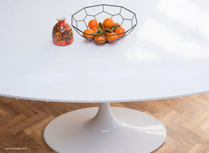 Top down of the white laminate 200cm oval Tulip Table