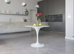 Main view of the Carrara Marble 90cm Tulip Table