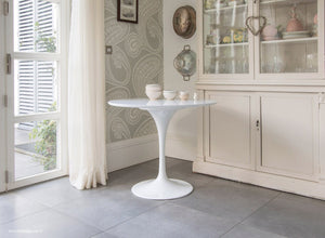 Main view of the white laminate 90cm Tulip Table