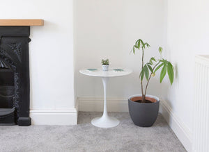 50cm Circular Side Table In Carrara Marble - designed by Eero Saarinen