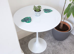 50cm Circular White Laminate Side Table - designed by Eero Saarinen