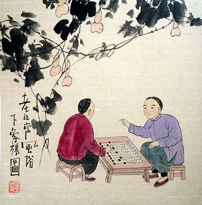 Chinese Painting,Beijing Old Life No.2,Hutong Lifestyle
