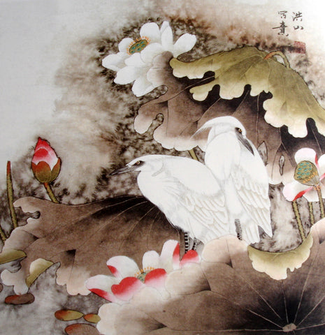 Chinese Painting,Traditional,Life Philosophy,Lotus Pond White Birds