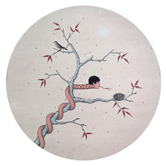 Academic,Childhood,Bird,Snake,Nest,Zen,Painting On Paper