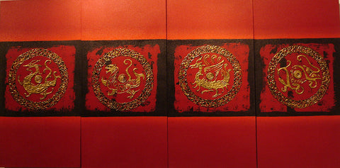 Chinese Culture,Dragon Tiger Phoenix Snake Turtle,Fengshui,Oil Painting