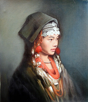 Oil Painting, Girl Miao Nationality,Classic Size No.2