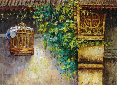 Oil Painting,Traditional Culture,Beijing Hu Tong, Hu Tong Life,Bird Cage