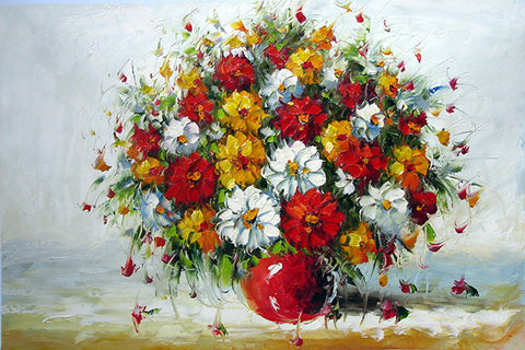 Flower No.1 Red Vase,Oil Painting