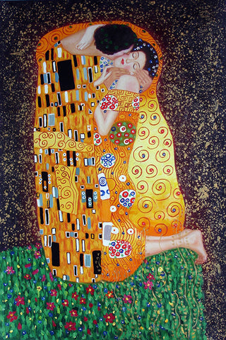 Boy,Girl,Gustav Klimt,Kiss,Love,Men,Woman,Oil Painting
