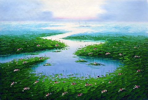 Lotus Pool,Traditional Culture,Large Size,Oil Painting