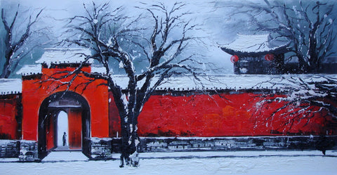 Hutong,Beijing,Red Street After Snowing,Traditional Culture,Oil Painting,