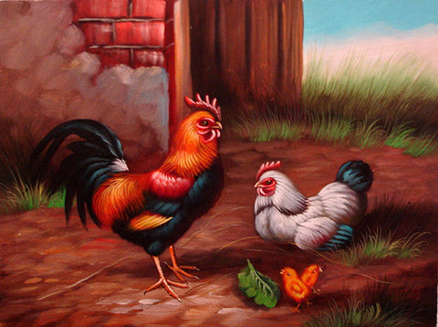 Rooster Family No.1,Oil Painting