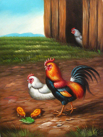 Rooster Family No.2,Oil Painting