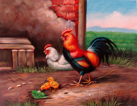 Rooster Family No.3,Oil Painting