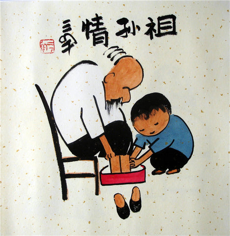 Chinese Painting,Traditional,Life Philosophy,Confucius,Grand Father and Boy