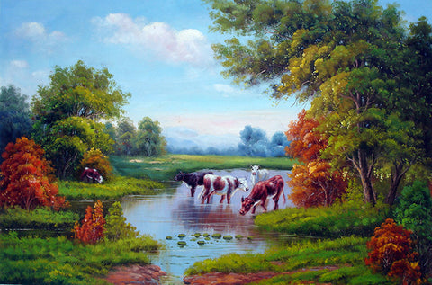 Landscape,Forest,Bull,Cow,Oil Painting