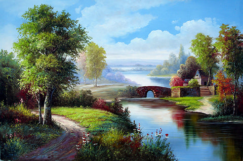 Landscape,Forest Bridge Blue Sky,Oil Painting
