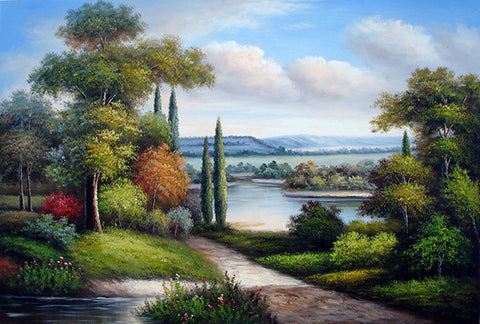 Landscape,Forest Lake,Oil Painting