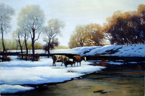 Landscape,Winter Bull Cow Family,Oil Painting