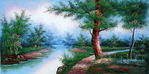 Landscape,Forest River,Oil Painting