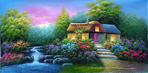 Landscape,Forest Home,Oil Painting
