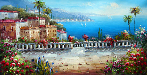 Landscape,Summer Seaside Villa,Oil Painting