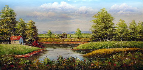 Landscape,Forest Pond,Oil Painting