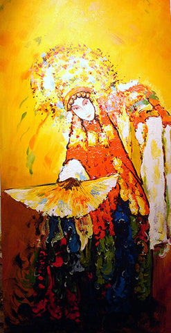 Chinese Culture,Drunken Beauty With Fan,Beijing Opera,Oil Painting
