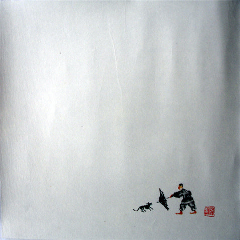 Chinese Culture Zen,Academic,Fight with Dog,Chinese Painting