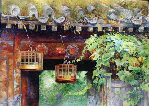 Chinese Culture,Hutong,Siheyuan,Courtyard,Oil Painting