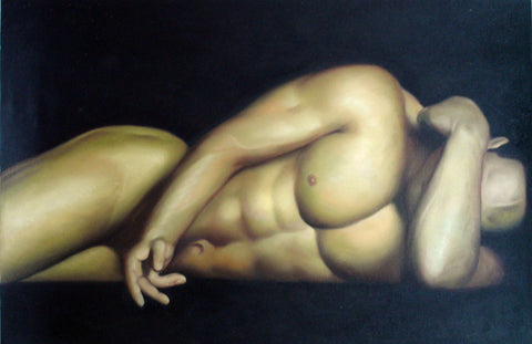 Body,Mask,Man In Dark,Oil Painting
