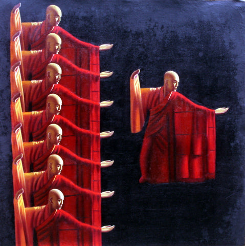 Monk kongFu Performance No.2,Zen,Oil Painting