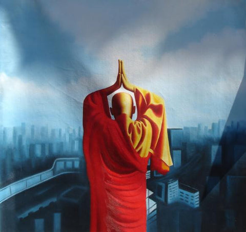 Monk Pray To The Sky,Zen,Oil Painting
