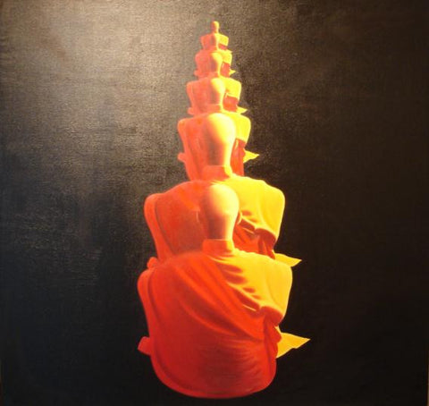 Monk Sitting,Meditation,Zen,Oil Painting