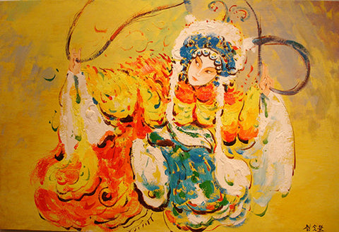 Oil Painting,Bejing Opera Beauty,Female Hero