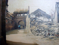 Academic,Beijing,Hu Tong,Traditional Culture,Old Wall No.2,Oil Painting